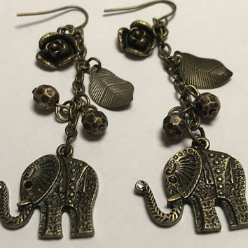 Vtg Bronze Tone Lucky Elephant Earrings / Dangling Chain Hook Earrings / Rosette Leaves Beads & Elephant Charms / Long Chain Chandelier