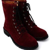 Velvet Lace-up 8-Eye Boots in Red