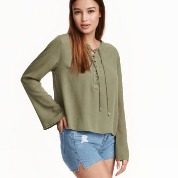 Blouse with Lacing - from H&M