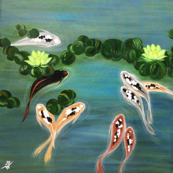 Painting-Feng Shui Koi Fish, Modern Abstract Art, Personalized Feng Shui color, Painting for Luck, by Judith a Yabut- Made to Order