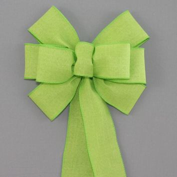 Lime Green Rustic Linen Wreath Bow