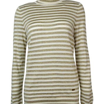Ralph Lauren Women's Metallic Thin Striped Turtleneck Sweater