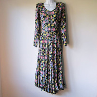 90s Grunge, Sweet, Bright, & Floral: Flared Long Sleeved Black Maxi Dress