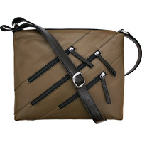 Leather Crossbody Bag with 3 Zippers - Olive/Black