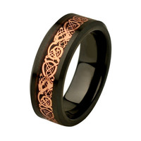 Unique Mens Wedding Band Celtic Rings Ceramic Wedding Band Promise Rings for Him Rose Gold Plated Celtic Dragon Inlay Mens Rings SNUJDCSQE