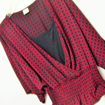 Black Red, Blouse, Crepe de Chine, Modesty Insert, Banded Elastic Bottom, Size Large, Christian Dressing, Office