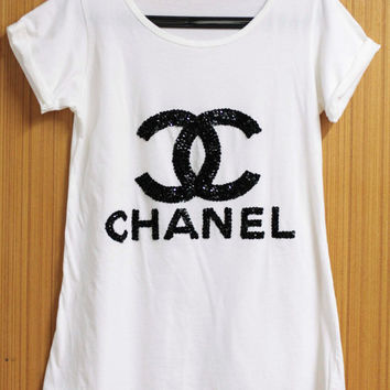 COCO CHANEL T Shirts blouse Tunic handmade crystal seed beads sequins sew fix