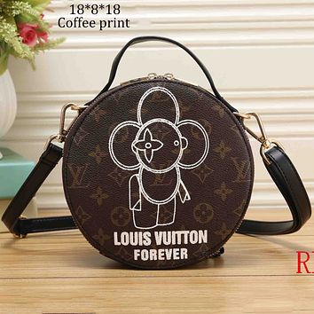 LV Louis Vuitton 2018 new sun flower small round bag Messenger bag shoulder bag F-OM-NBPF Coffee plaid