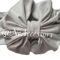 Gray Messy Bow Head Wrap, Heather Gray Messy Bow