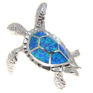 INLAY OPAL HAWAIIAN SEA TURTLE HONU PENDANT SOLID 925 STERLING SILVER EXTRA LARGE