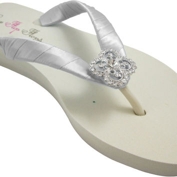 Silver Satin Square Filigree Rhinestone Bridal Flip Flops with on Ivory or White Wedges