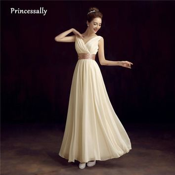 New Sweet Champagne Dress Long Bridesmaid Dress Cheap Chiffon V-neck Elegant Prom Party Formal Gown Robe De Soiree Custom Color