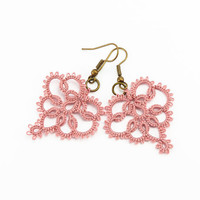 Delicate lace earrings lace jewelry in dusty rose pink -