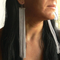 Gray Earrings. Fringe Earrings. Extra Long Earrings. Shoulder Duster Earrings
