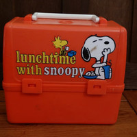 Vintage Orange Plastic Lunch Time School Days With Snoopy Woodstock Peanuts Lunch Box Great for Decor Storage Art Supplies