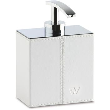 Box Kenia Chrome Leather Table Countertop Pump Liquid Soap Lotion Dispenser