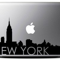 Macbook - New York silouette with text Macbook Symbol Keypad Iphone Apple Ipad Decal Skin Sticker Laptop