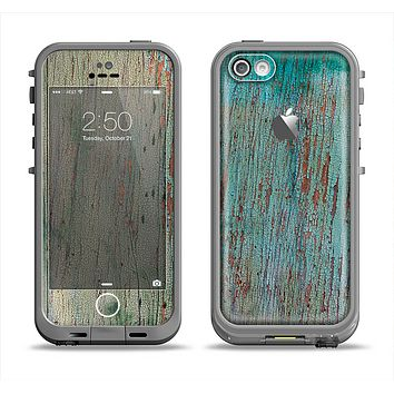 The Chipped Teal Paint on Aged Wood Apple iPhone 5c LifeProof Fre Case Skin Set