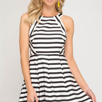 White Striped Fit Flare Dress