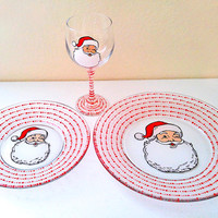 Christmas Dinnerware, Christmas Wine Glass, Christmas Plates, Christmas Decorations, Santa Claus Dining Set, Santa Claus Wine Glass, Holiday