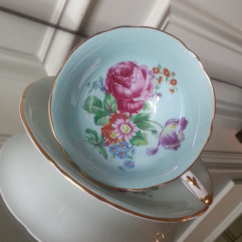 Antique Paragon blue floral tea cup and saucer, bone china English tea set, footed tea cup, wedding gift