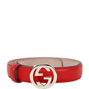 GUCCI Red Leather Skinny Belt with Interlocking G Buckle 370717 Size 46 NWT