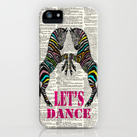 Two Dancing Zebras on a Vintage Dictionary Page iPhone & iPod Case by Adidit