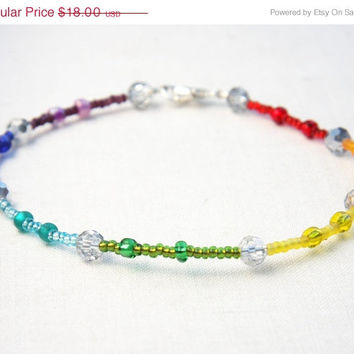 CIJ ChristmasInJuly SALE Rainbow Anklet - Colorful Beaded Anklet - Silver Crystal Glass Beads - Hippie Bohemian Anklet - Ankle Bracelet - S