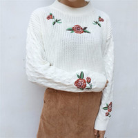 Rose Embroidered Mock Turtleneck Sweater