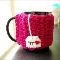 Cuppa Tea Love Mug Cozy by KnitStorm on Etsy