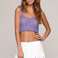 Raga Crochet Tank - Womens Sweater - Purple