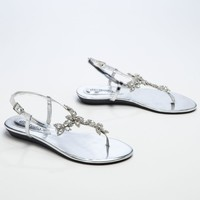 Flat Thong Sandals with Floral Design - David's Bridal