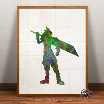Final Fantasy VII Print Watercolor, Cloud Strife Poster, Video Game Art, Nursery Illustration, Giclee Wall, Kid Artwork, Comic, Fine, Decor