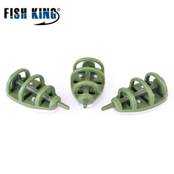 FISH KING 3PCS/LOT Lead Weight 30G-80G Feeder bait cage carp fishing accessory Stainless steel cage hooks group for Carp Fishing