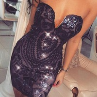 Fitted Sweetheart Sequin Dress