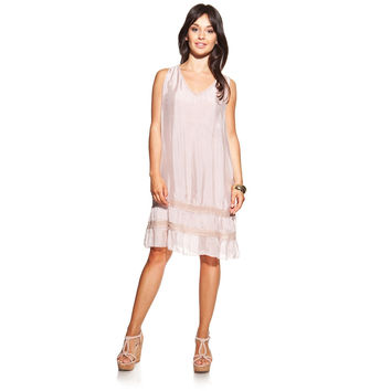 Silk dress colour pink with V-neck and brilliant fabric strips