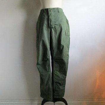 Vintage Military Rip Stop 80s Pants Viet Nam Era Style OD Green 1980s US Army Trouser Large Long