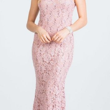 Lace Fit and Flare Long Formal Dress Mauve