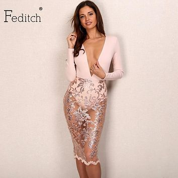 Feditch New Fashion Sequin Dress Sexy Lady Deep V Neck Mid Lace Dresses Women Transprant Long Sleeve Mesh Elegant Women Vestidos