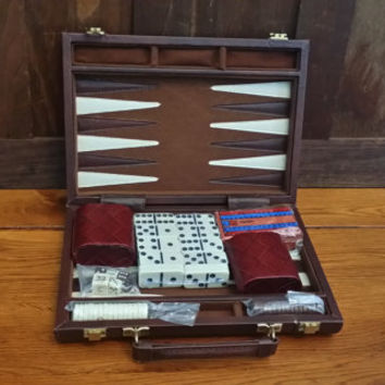 Vintage Mini Travel Backgammon Set and Assorted Games Dominoes Faux Leather Case Great Vintage Game