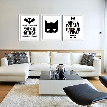 Cartoon Batman 3 Piece Canvas