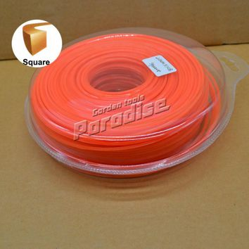 "0.08"" 2.0mm Diameter 1LB(115M) Square Brush Cutter Nylon Grass Trimmer Line Orange Color Blister Card Packing"