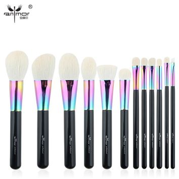 Anmor High Quality Goat Hair Makeup Brushes Set Luxurious 12 pcs Make Up Brushes Professional Makeup Tools  CFCB-YF10