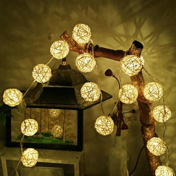 Goodland 2M Rattan Ball LED String Light Fairy Lights Holiday Light for Party Wedding Christmas Garland Gerlyanda Decoration