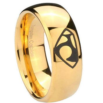 10mm House of Van Dome Gold Tungsten Carbide Mens Wedding Ring