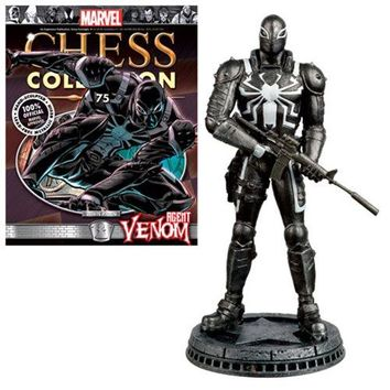Marvel Agent Venom White Pawn Chess Piece with Collector Magazine #75