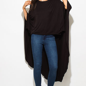 New girl in town black high low hem boat neck long sleeve knit poncho tunic top