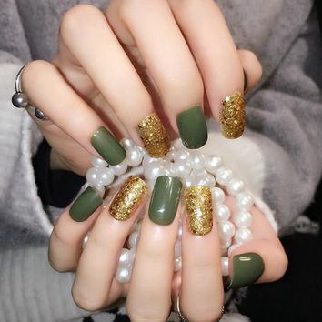 UV Style Press On Nails Gold Glitter Acrylic Full Cover False Nails Green Artificial Nails 24pcs with Glue Sticker Z336