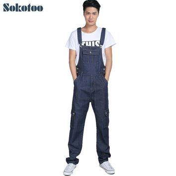 Sokotoo Men's fashion pocket denim overalls for boys Male casual loose jumpsuits Plus large size jeans Bib pants