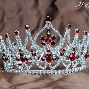 Gorgeous Full Round Tiaras Crowns Red Rhinestones Crstyal Silver Hair Headpiece Wedding Bridal Miss Beauty Pageant Prom Party